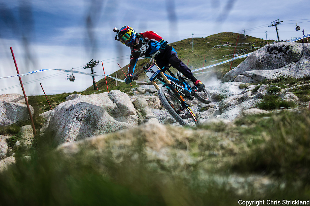 Nevis Range, Fort William, Scotland, UK. 3rd June 2016. Danny Hart of MS Mondraker Team and Great Britain in action during practice. The worlds leading mountain bikers descend on Fort William for the UCI World Cup on Nevis Range.