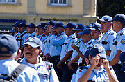 Auxiliary Police assemble in the Zocalo to provide crowd control for the Noche de Rabanos festival, December 23, 2012