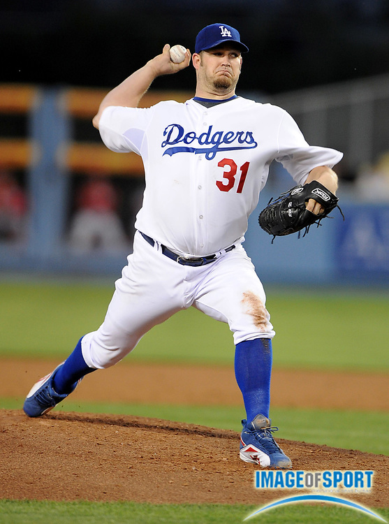 May 19, 2008; Los Angeles, CA, USA; Los Angeles Dodgers starter Brad Penny (31) pitches against the Cincinnati Reds at Dodger Stadium.