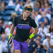 2019 US Open Tennis Tournament- Day Two.  Andrey Rublev of Russia feels pain in his side during his victory against Stefanos Tsitsipas of Greece in the Men's Singles Round One match on Louis Armstrong Stadium at the 2019 US Open Tennis Tournament at the USTA Billie Jean King National Tennis Center on August 27th, 2019 in Flushing, Queens, New York City.  (Photo by Tim Clayton/Corbis via Getty Images)