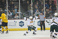 Vermont's Jarrid Privitera (19) celebrates after scoring a goal during the men's hockey game between the Vermont Catamounts and the Quinnipiac Bobcats in the championship game of the Friendship Four hockey tournament at the SSE Arena on Saturday evening November 26, 2016 in Belfast, Ireland. (BRIAN JENKINS/for the FREE PRESS)