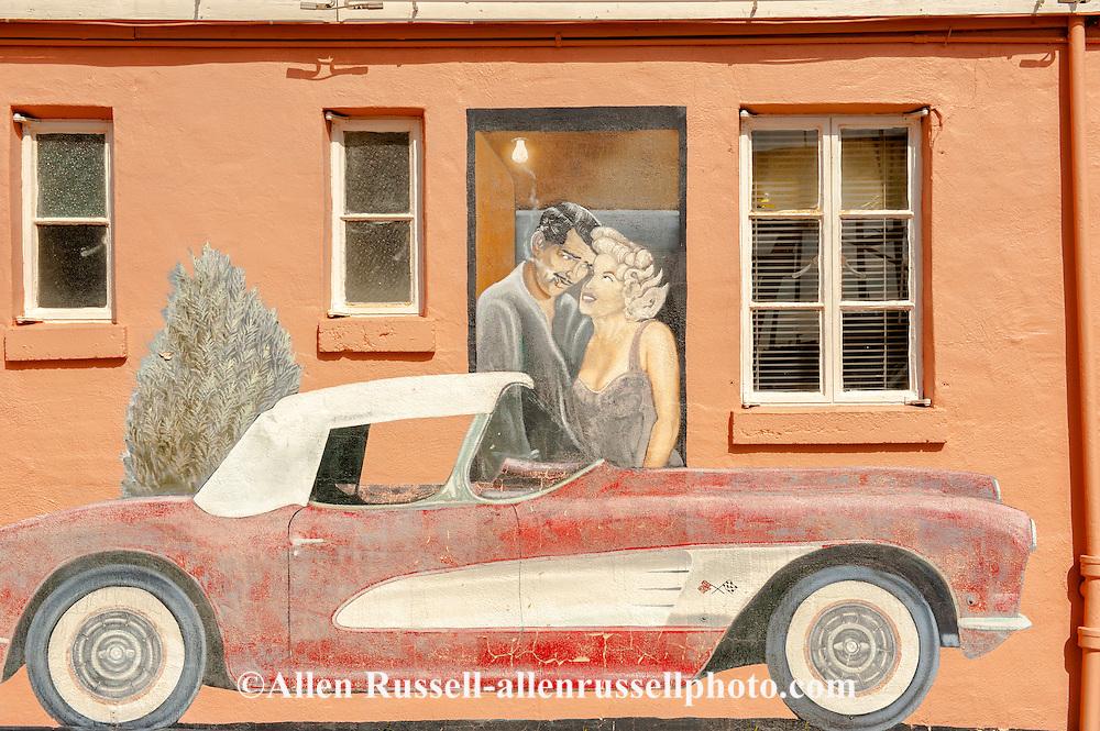 Historic Route 66, Tucumcari, New Mexico, mural, Clark Gable, Marilyn Monroe, 1956 Chevrolet Corvette, Blue Swallow Motel
