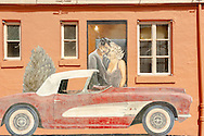 Historic Route 66, Tucumcari, New Mexico, mural, Clark Gable, Marilyn Monroe, 1956 Chevrolet Corvette, Blue Swallow Motel