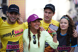 Eyal Booker, Michelle Heaton and Frankie Fuller during the 2019 London Landmarks Half Marathon.