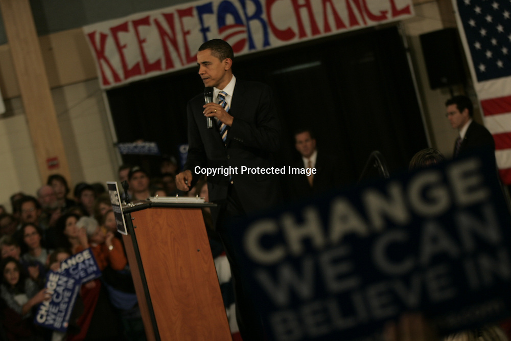 U.S. Democratic Presidential candidate Senator Barack Obama (D-IL) greets supporters on the street that were not able to get into a campaign stop due to overcrowding in Keene, New Hampshire January 6, 2008.