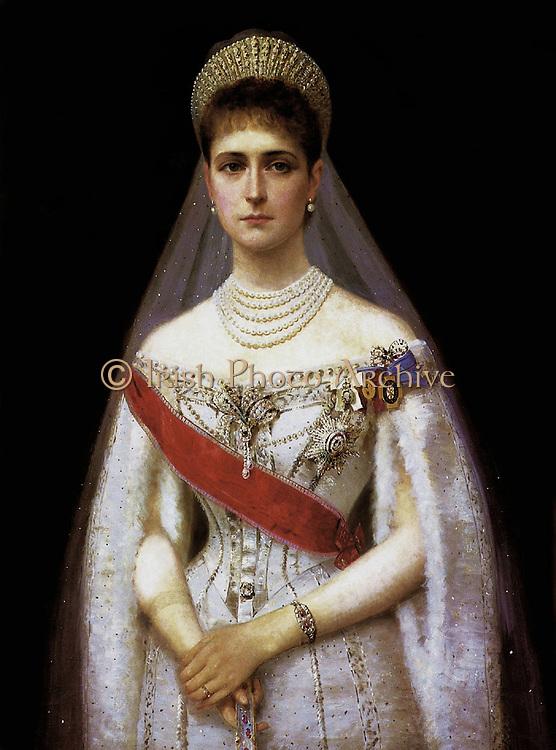 Ilya Galkin, Russian artist. Portrait of Tsarina Alexandra Feodorovna 1872 –  1918, Empress of Russia, wife of Nicholas II, last Emperor of Russia.