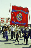 AUEW Foundry Section  banner at the start of a march against anti trade union legislation. Sheffield 1980.