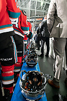 KELOWNA, BC - NOVEMBER 8: The Kelowna Rockets stand on the bench during the national anthem against the Medicine Hat Tigers  at Prospera Place on November 8, 2019 in Kelowna, Canada. (Photo by Marissa Baecker/Shoot the Breeze)