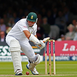 16/08/2012 London, England. South Africa's Graeme Smith is given out caught Prior bowled Anderson during the third Investec cricket international test match between England and South Africa, played at the Lords Cricket Ground: Mandatory credit: Mitchell Gunn