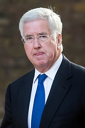 © Licensed to London News Pictures. 12/09/2017. London, UK. Secretary of State for Defence MICHAEL FALLON arrives at 10 Downing Street in London ahead of a cabinet meeting.  In the early hours of this morning government won a vote in Commons passing the EU repeal bill, by a margin of 326 to 290 votes. Photo credit: Ben Cawthra/LNP