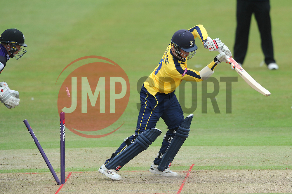 Sean Terry of Hampshire is bowled by Tom Smith of Gloucestershire for 1  - Photo mandatory by-line: Dougie Allward/JMP - Mobile: 07966 386802 - 14/07/2015 - SPORT - Cricket - Cheltenham - Cheltenham College - Natwest T20 Blast