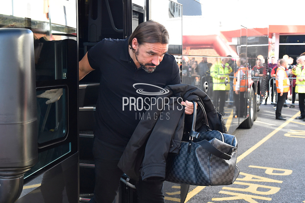 Norwich City manager Daniel Farke gets off the team bus on arrival ahead of the Premier League match between Bournemouth and Norwich City at the Vitality Stadium, Bournemouth, England on 19 October 2019.