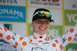 Ilona Hoeksma (NED) of Parkhotel Valkenburg Cycling Team celebrates the mountains jersey after the Aviva Women's Tour 2016 - Stage 1. A 138.5 km road race from Southwold to Norwich, UK on June 15th 2016.