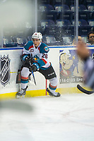 KELOWNA, CANADA - AUGUST 31:  Liam Kindree #26 of the Kelowna Rockets skates for the puck against the Victoria Royals on August 31, 2018 at Prospera Place in Kelowna, British Columbia, Canada.  (Photo by Marissa Baecker/Shoot the Breeze)  *** Local Caption ***