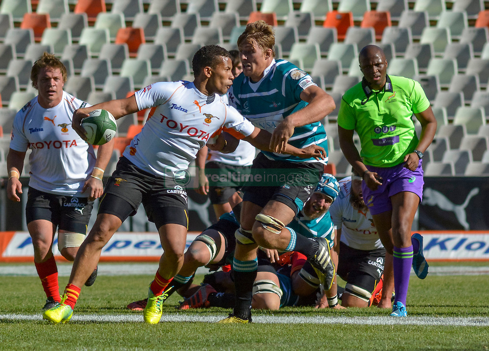 Clayton Blommetjies of the Free State Cheetahs and Jason Fraser of the Griquas  during the Currie Cup Premier division match between the The Free State Cheetahs and Griquas held at Toyota Stadium (Free State Stadium), Bloemfontein, South Africa on the 1st October 2016<br /> <br /> Photo by:   Frikkie Kapp / Real Time Images