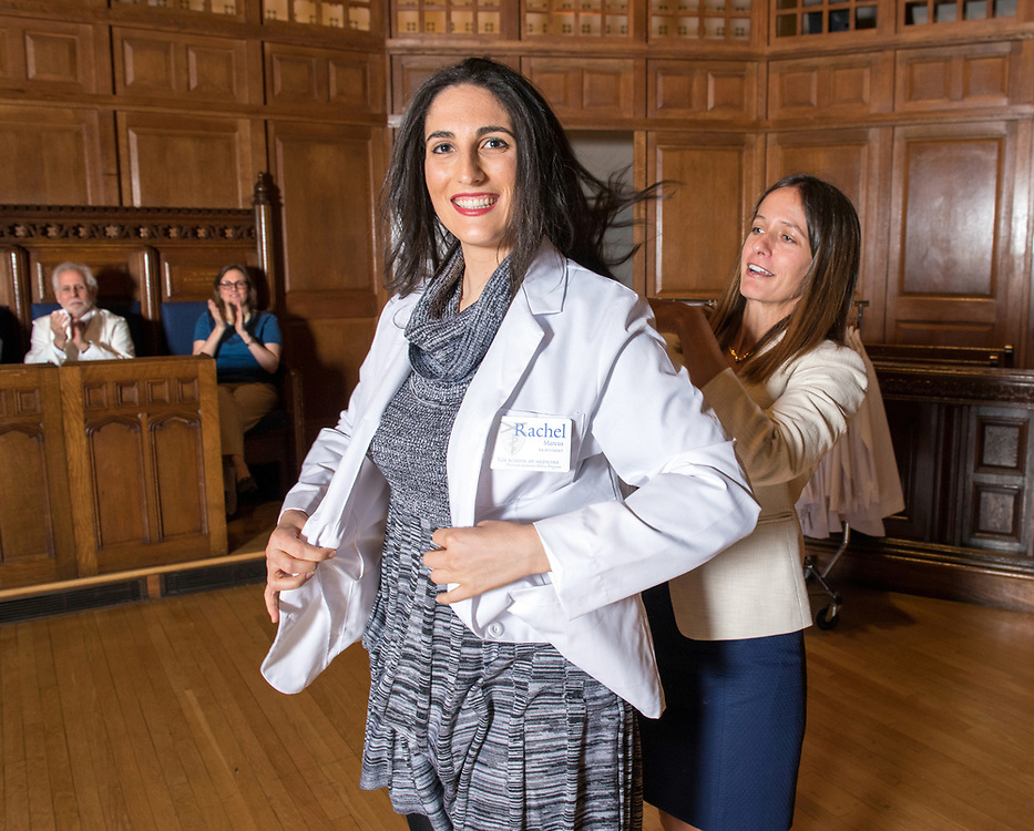 Photography ©Mara Lavitt<br /> Yale University, New Haven.<br /> March 12, 2018<br /> <br /> Yale Physician Assistant Online program white coat ceremony, Battell Chapel, Yale University.