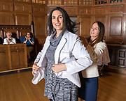 Photography &copy;Mara Lavitt<br /> Yale University, New Haven.<br /> March 12, 2018<br /> <br /> Yale Physician Assistant Online program white coat ceremony, Battell Chapel, Yale University.