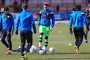 Forest Green Rovers Jordan Simpson(12) warming up during the EFL Sky Bet League 2 match between Accrington Stanley and Forest Green Rovers at the Wham Stadium, Accrington, England on 17 March 2018. Picture by Shane Healey.
