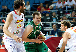 Jorge Garbajosa of Spain vs Uros Slokar of Slovenia during the fifth-place basketball match between National teams of Slovenia and Spain at 2010 FIBA World Championships on September 10, 2010 at the Sinan Erdem Dome in Istanbul, Turkey.   (Photo By Vid Ponikvar / Sportida.com)