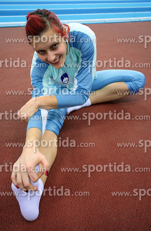 Slovenian athlete Nina Kolaric at the afternoon warming up day before European Athletics Indoor Championships Torino 2009 (6th - 8th March), at Oval Lingotto Stadium,  Torino, Italy, on March 5, 2009. (Photo by Vid Ponikvar / Sportida)