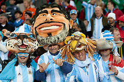 Fans of Argentina celebrate during the 2010 FIFA World Cup South Africa Round of Sixteen match between Argentina and Mexico at Soccer City Stadium on June 27, 2010 in Johannesburg, South Africa. Argentina defeated Mexico 3-1 and qualified for quarterfinals. (Photo by Vid Ponikvar / Sportida)