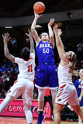 NORMAL, IL - January 06: Sara Rhine shoots while doubled on by Te Te Maggett and Lexi Wallen during a college women's basketball game between the ISU Redbirds and the Drake Bulldogs on January 06 2019 at Redbird Arena in Normal, IL. (Photo by Alan Look)