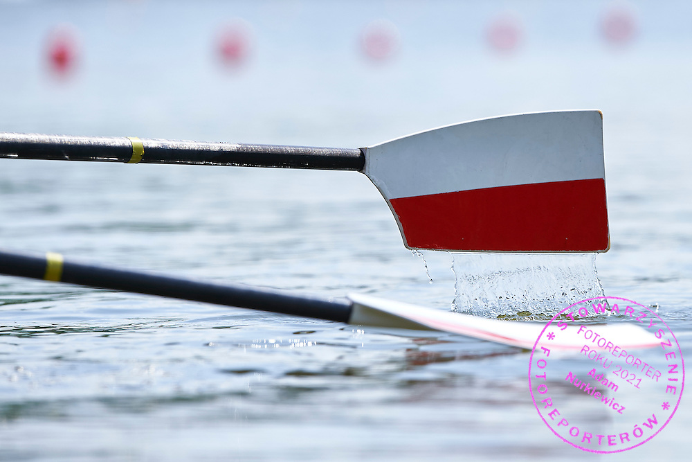 Polish oars during first day the 2015 European Rowing Championships on Malta Lake on May 29, 2015 in Poznan, Poland<br /> Poland, Poznan, May 29, 2015<br /> <br /> Picture also available in RAW (NEF) or TIFF format on special request.<br /> <br /> For editorial use only. Any commercial or promotional use requires permission.<br /> <br /> Mandatory credit:<br /> Photo by &copy; Adam Nurkiewicz / Mediasport