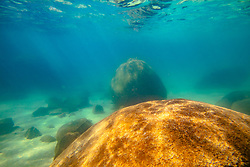 """Boulders Under Lake Tahoe 5"" - Underwater photograph taken while swimming at Secret Cove, Lake Tahoe."