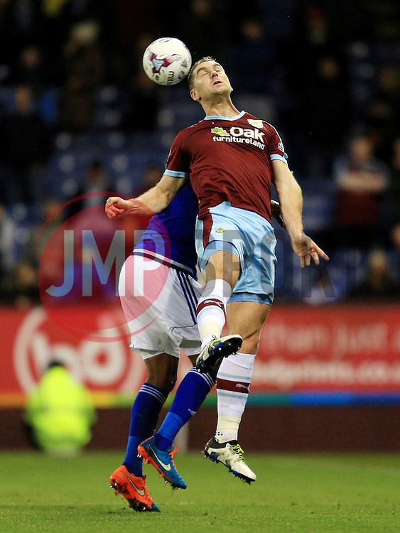 Burnley's Sam Vokes wins a header - Mandatory by-line: Matt McNulty/JMP - 05/04/2016 - FOOTBALL - Turf Moor - Burnley, England - Burnley v Cardiff City - SkyBet Championship