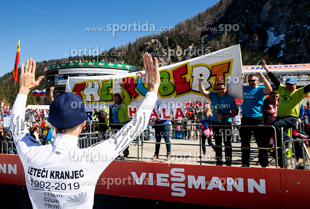 Retired Robert Kranjec of Slovenia celebrates with his fans after the trophy ceremony after the Ski Flying Hill Team Competition at Day 3 of FIS Ski Jumping World Cup Final 2019, on March 23, 2019 in Planica, Slovenia. Photo by Vid Ponikvar / Sportida