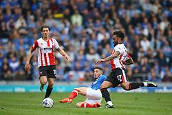 Conor Chaplin of Portsmouth sliding tackle on Jordan Cranston of Cheltenham Town - Mandatory by-line: Jason Brown/JMP - 06/05/2017 - FOOTBALL - Fratton Park - Portsmouth, England - Portsmouth v Cheltenham Town - Sky Bet League Two