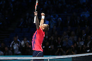 Henri Kontinen (Finland) celebrates the victory during the doubles final of the Barclays ATP World Tour Finals at the O2 Arena, London, United Kingdom on 20 November 2016. Photo by Phil Duncan.