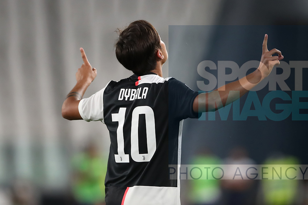 Juventus's Argentinian striker Paulo Dybala celebrates after scoring to give the side a 1-0 lead during the Serie A match at Allianz Stadium, Turin. Picture date: 26th June 2020. Picture credit should read: Jonathan Moscrop/Sportimage