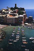 2000, Vernazza, Italy --- Boats in a Harbor --- Image by © Owen Franken/CORBIS