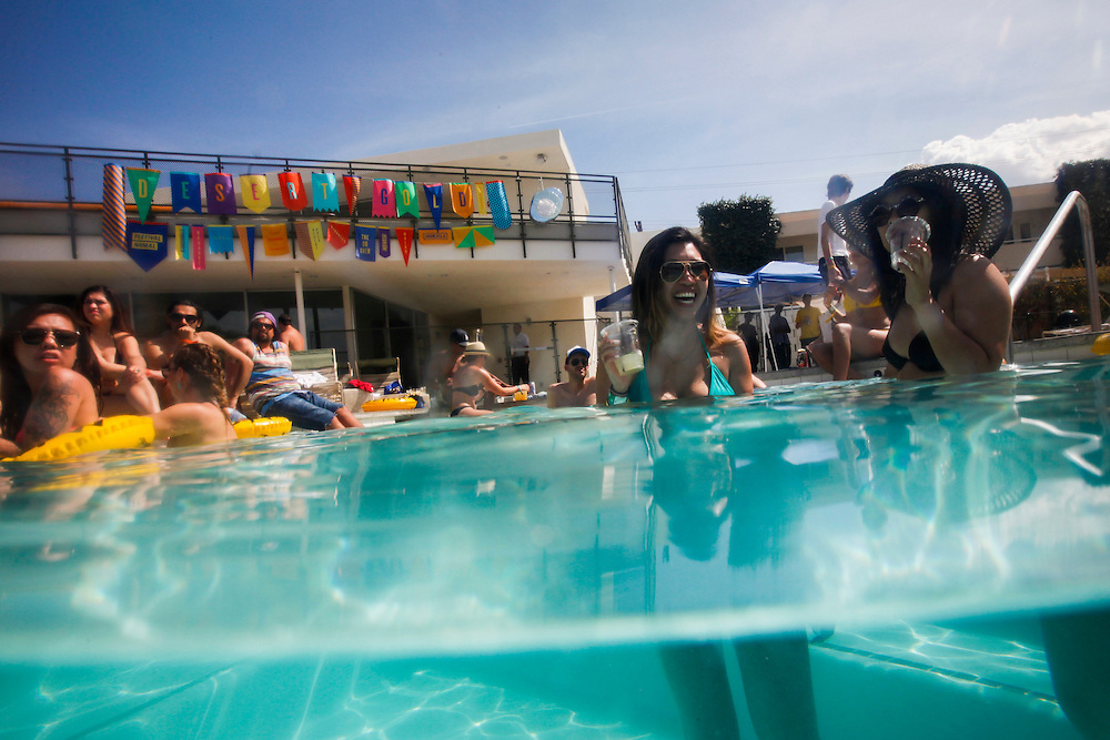People relax, swim, dance and drink during the Desert Gold 2014 pool party at the ACE Hotel & Swim Club, Coachella weekend on Saturday, April 19, 2014 in Palm Springs, California.© 2014 Patrick T. Fallon, No Use Without Permission