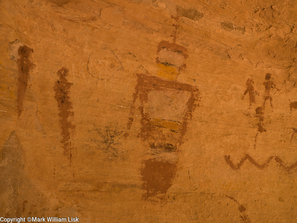 Pictographs in the cave at the Eye of Sinbad in the reef of Utah's San Rafael Swell.