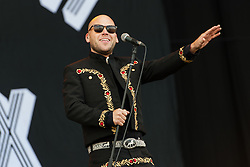 © Licensed to London News Pictures. 28/08/2015. Reading Festival, UK. Mariachi El Bronx performing at Reading Festival on Day 1 of the festival.  In this picture - Matt Caughthran  Photo credit: Richard Isaac/LNP