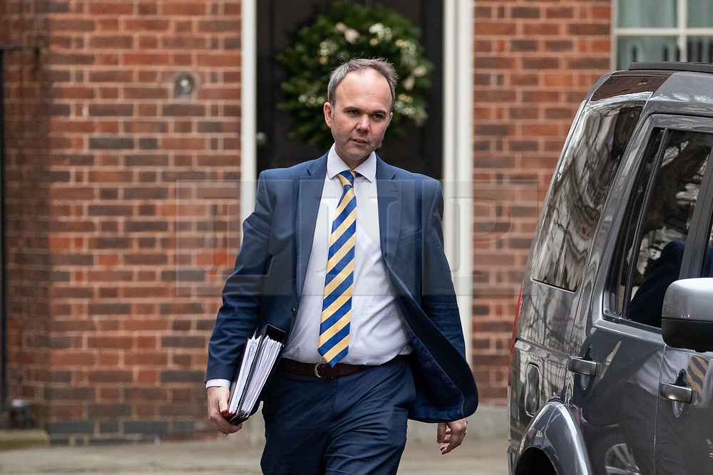 © Licensed to London News Pictures. 12/12/2018. London, UK. Downing Street Chief of Staff Gavin Barwell leaves 11 Downing Street shortly before British Prime Minister Theresa May (not pictured) leaves 10 Downing Street to attend Prime Minister's Questions in the Houses of Parliament, after announcing this morning that she will contest tonight's vote of no confidence in her leadership. Overnight, 48 letters were handed in triggering the vote of no confidence. Photo credit : Tom Nicholson/LNP