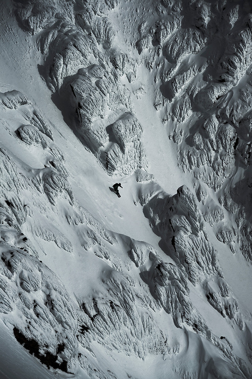 Jeremy Jones drops in on the rime chutes we called the 'cauliflower face', Svalbard.