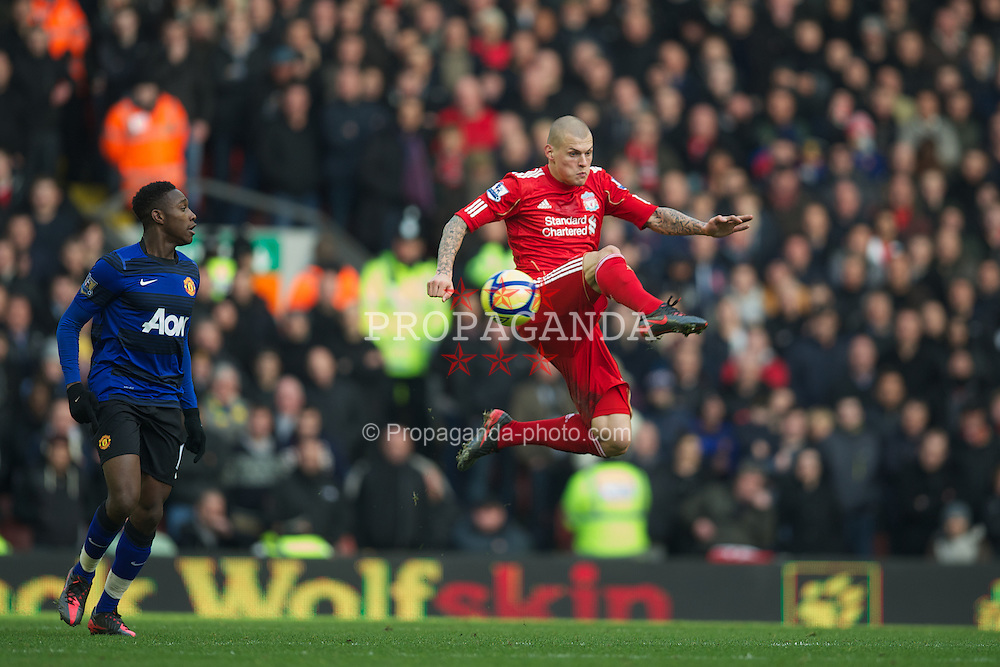 LIVERPOOL, ENGLAND - Saturday, January 28, 2012: Liverpool's Martin Skrtel in action against Manchester United during the FA Cup 4th Round match at Anfield. (Pic by David Rawcliffe/Propaganda)