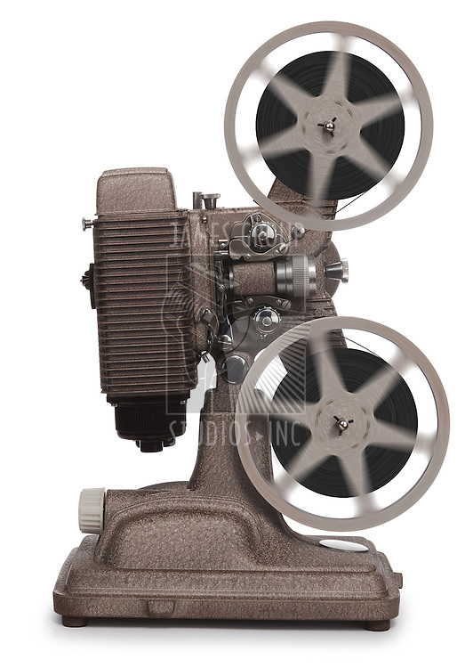 vintage movie projector on white