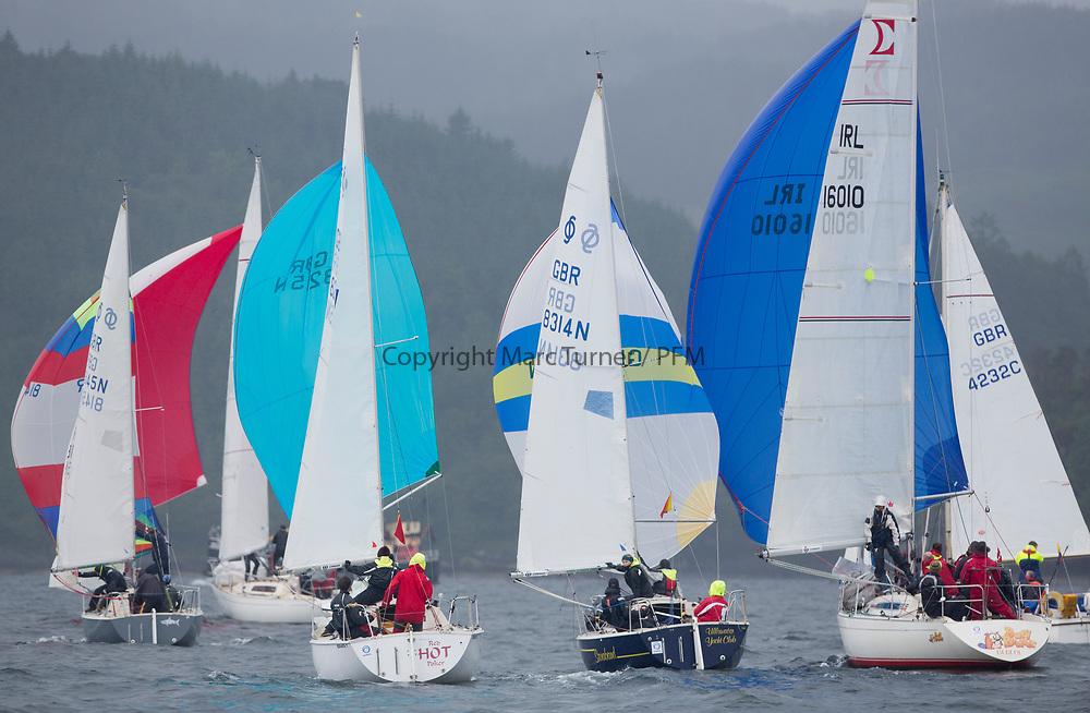 Silvers Marine Scottish Series 2017<br /> Tarbert Loch Fyne - Sailing<br /> <br /> One Design Fleet, GBR8215N, Red Hot Poker, Douglas Guthrie, Helensburgh SC, Sonata OD, GBR8314N, Saraband , Mark Taylor , Prestwick SC<br /> <br /> Credit: Marc Turner / CCC