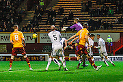 Dundee FC Goalkeeper Scott Bain making a vital save during the Ladbrokes Scottish Premiership match between Motherwell and Dundee at Fir Park, Motherwell, Scotland on 12 December 2015. Photo by Craig McAllister.