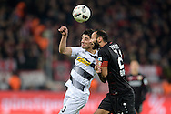 Oemer Toprak of Bayer Leverkusen and Lars Stindl(c) of Borussia Monchengladbach clash during the Bundesliga match at BayArena, Leverkusen<br /> Picture by EXPA Pictures/Focus Images Ltd 07814482222<br /> 28/01/2017<br /> *** UK & IRELAND ONLY ***<br /> <br /> EXPA-EIB-170129-0039.jpg
