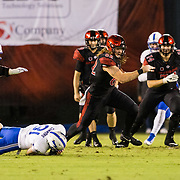 12 October 2018: San Diego State Aztecs tight end Parker Houston (82) catches a pass for a first down in the second quarter. The San Diego State Aztecs lead 14-9 at the half against the Air Force Falcons at SDCCU Stadium Friday night.