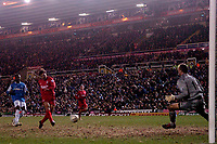 Photo: Glyn Thomas.<br />Birmingham City v Liverpool. The FA Cup. 21/03/2006.<br /> Liverpool's Fernando Morientes scores his side's fourth goal.