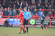 Accrington Stanley midfielder Sean McConville (11) receives a yellow card during the EFL Sky Bet League 1 match between Accrington Stanley and Fleetwood Town at the Fraser Eagle Stadium, Accrington, England on 30 March 2019.