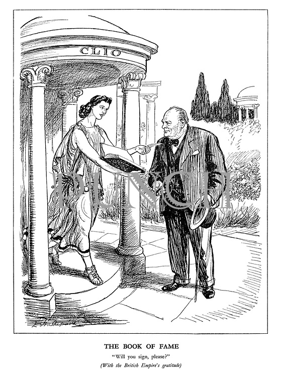 """The Book of Fame. """"Will you sign, please?"""" (With the British Empire's gratitude)"""