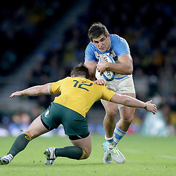 Pablo Matera of Argentina is tackled by Bernard Foley of Australia during the The Rugby Championship match between Argentina and Australia at Twickenham Stadium, Twickenham - 08/10/2016<br />