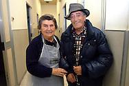 Roma 6 Novembre 2007.Un  ospite italiano della Ostello Stazione Termini Caritas  di Via Marsala con una volontaria.A guest of the hostel Caritas of Street Marsala.